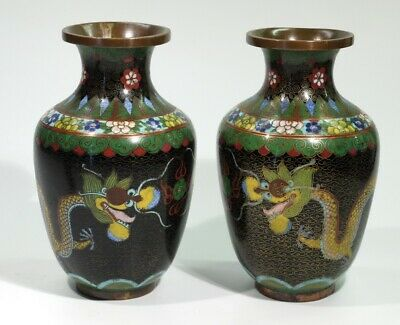 Beautiful Pair of Chinese Cloisonne Vases Decorated with Dragons & Flaming Pearl