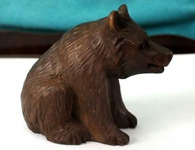 Hand Carved Black Forest Bear In A Seated Position - Treen