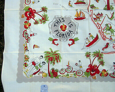 Vintage FLORIDA State MAP Souvenir TABLECLOTH 54x54 NOS w label NEVER USED!
