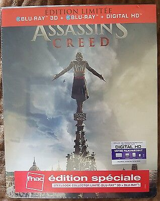 ASSASSIN'S CREED STEELBOOK 3D + 2D EDITION limitee FNAC BLU RAY 3d + 2d  VF