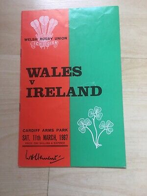 1967 Wales V Ireland Five 5 Nations International Rugby Union Programme