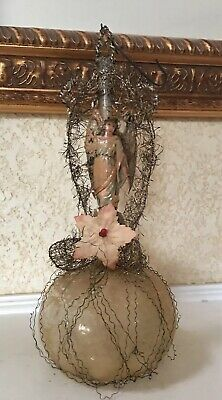 Antique Victorian Wire Wrapped Blown Glass Die Cut Angel CHRISTMAS Ornament