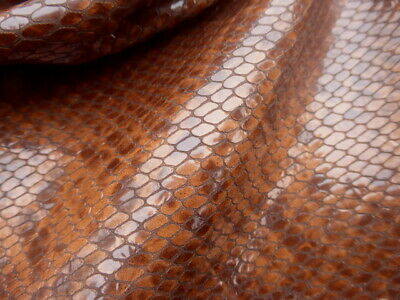 Calfskin leather hide Extra Large Tobacco Brown Python Pattern gloss finish