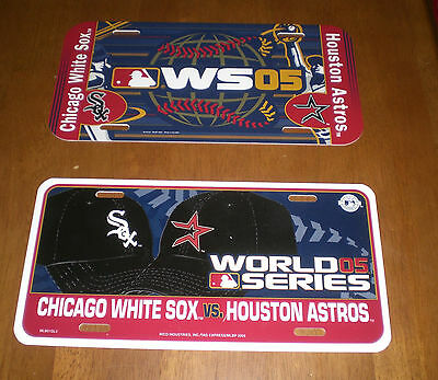 TWO 2005 CHICAGO WHITE SOX vs ASTROS DUELING WORLD SERIES LICENSE PLATE