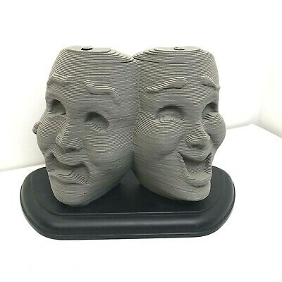 Comedy and Tragedy Masks Greek Drama Busts Stacked Paper Gray Mounted Theatre