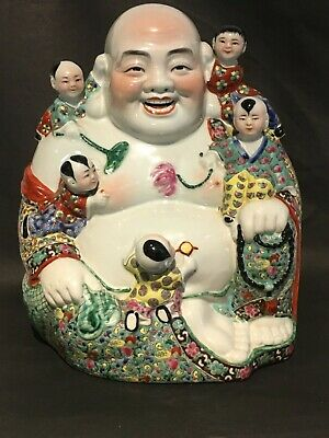 Vintage Antique Large Chinese Famille Rose Porcelain BUDDHA figure MARKED