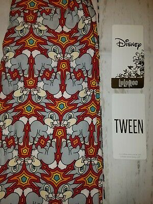 LuLaRoe Tween leggings NWOT Disney Thumper rabbit gray red white