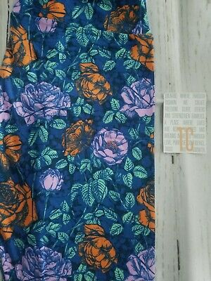 LuLaRoe leggings TC 12-22 NWOT blue foral with orange pink flowers
