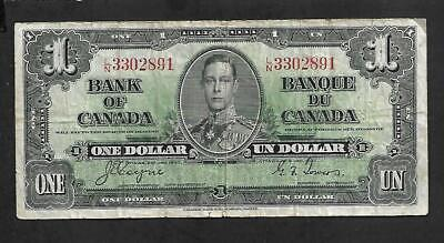 Canadian Money: 1937 Issue $1.00 Bill, George Vi Note, #Ln3302891, Coyne/Towers