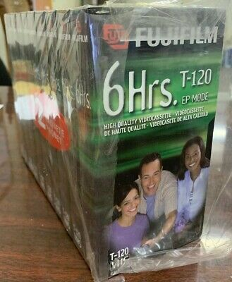 Lot / Set Of 10- Fujifilm 6 Hr. T-120 Blank VHS Tapes, All New & Sealed