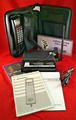 Vintage Motorola Cellphone Model SCN2462A Mobile Car Phone w/ Bag Manuals