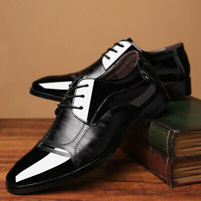 Mens Leather Shoes Lace Up Dress Work Formal Business Wedding Event Point-Toed