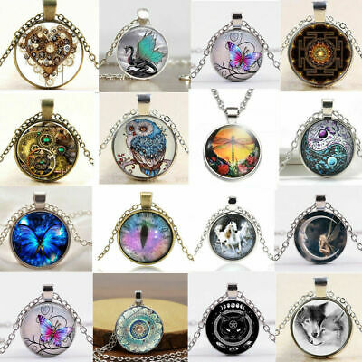 Glass Cabochon Pendant Chain Wolf Necklace Art Picture Charm Jewelry Necklace