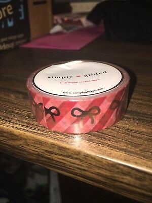 Simply Gilded Washi Red Pink Plaid Foil
