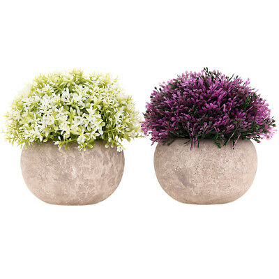 2-Pack Mini Artificial Plants Small Fakes Plants Topiary Shrubs Potted