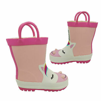 Girls Toddlers Gumboots Jellies Unicorn Boots Pink Pull on Wellies Size 6-12