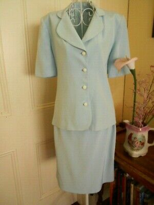 Retro Pale Blue Fully Lined Suit (Skirt & Jacket)Short Sleeves