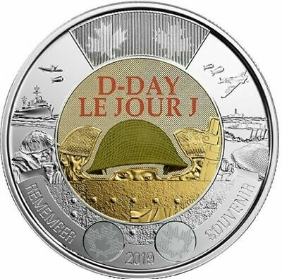 2019 Canada Dday 75th anniversary 1944-2019 $2 COLOURED Toonie -- from roll