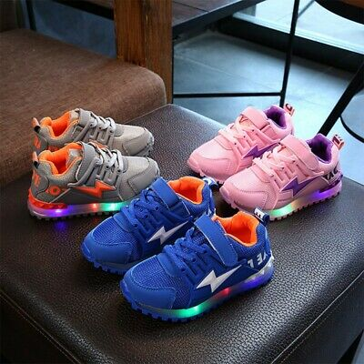Kids Baby Flash LED Light Up Shoes Sneakers Boys Girls Casual Luminous Trainers