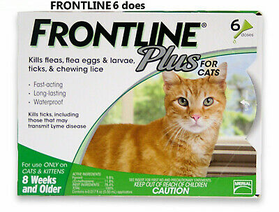 Frontline Plus Flea and Tick Control for Cats and Kittens, 6 Doses New Sealed