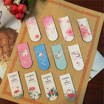 4Pcs/lot Unicorn Flamingo Cherry Sakura Magnet Bookmark Paper Clip School Gifts