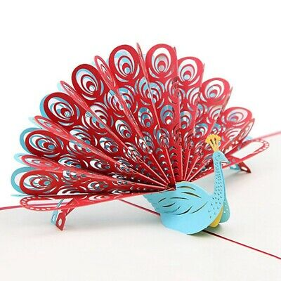 3D Peacock Pop up Birthday Card for Wife Husband Kids Valentine Day Graduat G6S5