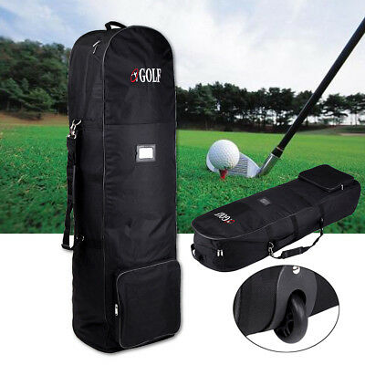 Portable Black Deluxe Wheeled Golf Bag Storage Flight Travel Cover with Wheel