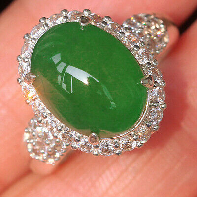 41.4Ct 100% Natural Grade A Green Oval Jadeite Ring Cab UCDZ-T42