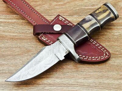Beautiful Custom Handmade Damascus Blade Hunting Knife With Bone Handle Bm-4885