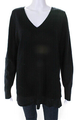 f14cc5e23d9 VINCE WOMENS LONG Sleeve V-Neck Sweater Black Wool Silk Contrast Size Large
