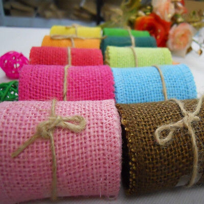 CO_ KF_ FX- 2m Colorful Fabric Burlap Ribbon Roll Hessian Tape DIY Wedding Deco