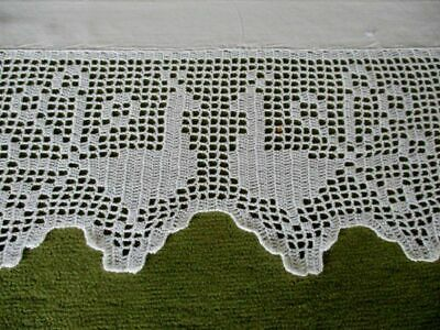 Antique Tablecloth - Hand Crochet Edge & Embroidery