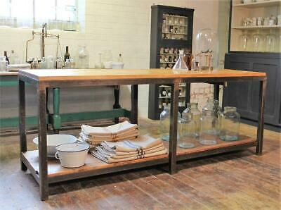 Large Old Factory Table/Kitchen Island/Workbench Vintage Salvage Industrial Bar