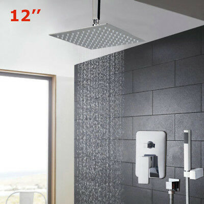12 Inch Rainfall Shower Head Chrome Wall Mount Hand Held Mixer Faucet Tap Sets