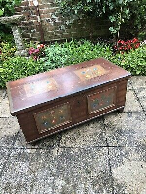 18th century Marriage Dowry Painted Pine Coffer Chest Antique