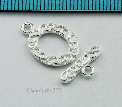 1x STERLING SILVER BRIGHT OVAL FLOWER TOGGLE CLASP 14.5mm #844
