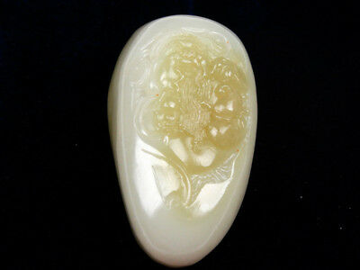 HeTian Jade Hand Carved EXTRA LARGE Pendant Sculpture Immortal Gourd #05201805