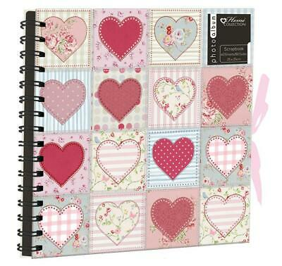 Patchwork Love Heart Spiral Bound Photo Album Scrapbook 40 Sheets 25 x 25cm