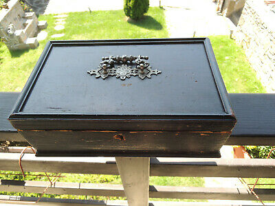 19th Century Antique French wood Box with metal handle