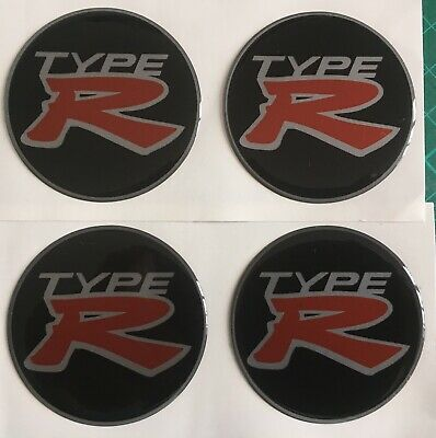 HONDA CIVIC TYPE R ALLOY WHEEL CENTRE CAP DOMED STICKERS X4 Black Silv Red 45mm