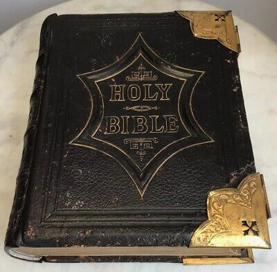 c1865 Large Antique Family Bible Old & New Testaments Illustrated Scott & Henry