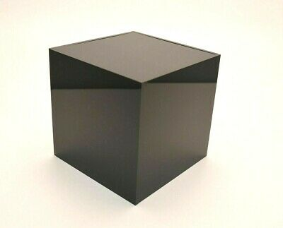 Acrylic Plastic Perspex Cube Display Stand 5 Sided Box Black Retail Shop Tray