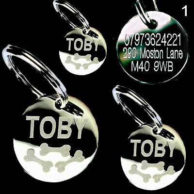 Pet tags for dogs and cats pet id tag disc personalised 3 sizes triple bones