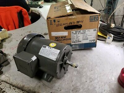 New Weg 1.5 Hp Electric Ac Motor 208-230/460 Vac 3 Phase D56 Frame 1750 Rpm