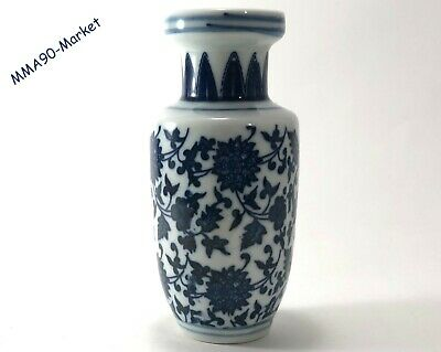 Antique Hand Painted Chinese Porcelain Vase Vintage White & Blue - Floral Style