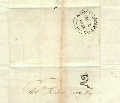GB Cover Northampton UPP Hand-Struck DISTINCTIVE *2* 1841 Naseby Letter MS1932