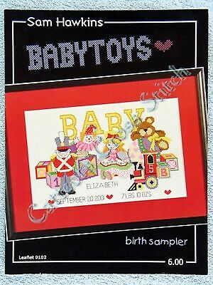Cross Stitch Pattern Baby Toys Baby Birth Announcement Sampler Old Fashioned OOP