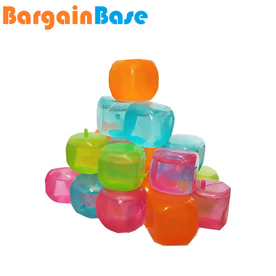 20 X Reusable Plastic Ice Cubes Cold Drinks Bar BBQ Quick Freezing Multicolour