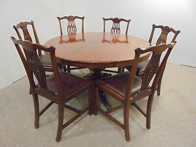 Mahogany Tilt Top Table- Lovely Example- Chippendale Style- With 6 Chairs