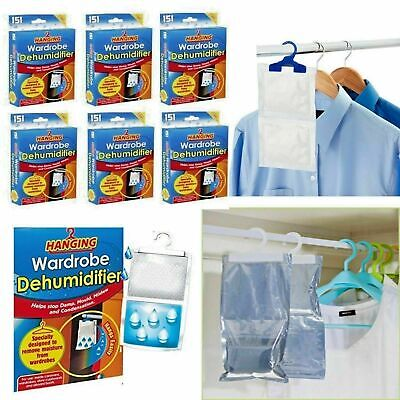 6x Hanging Wardrobe Dehumidifier Absorb Moisture Damp Mould & Condensation New